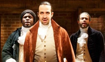 Lin-Manuel Miranda (center) as Alexander Hamilton. Photo: Joan Marcus/The Public Theater