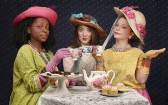 You'll always feel much better after tea (from left) Jimmica Collins, Caitlin Thomas White and xxxxx. Photo: BreeAnne Clowdus