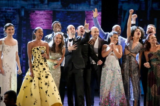 """The """"Hamilton"""" casts delivers the song """"The Schuyler Sisters"""" at the Tony awards finale. Photo: Sara Krulwich/The New York Times"""