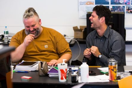 """Lyricist Brian Yorkey (left) and composer Tom Kitt in rehearsal for """"If/Then."""" Photo:"""