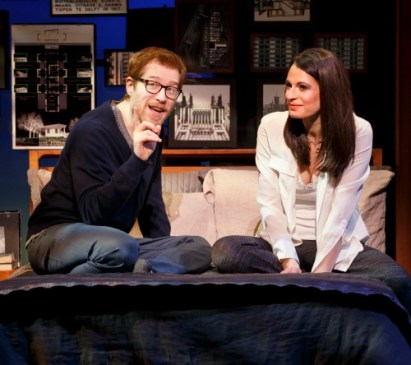 """Elizabeth (Jackie Burns) talks life and love with good friend Lucas (Anthony Rapp, a """"Rent"""" cast mate of this show's original leading lady, Idina Menzel. Photo: Joan Marcus"""