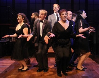 """The """"Company"""" company (from left): Rhyn Saver, Phillip Lynch, Craig Waldrip, Lowrey Brown, Libby Whittemore, Steve Hudson, Dan Ford (partially hidden), Jessica Miesel. Photo: BreeAnne Clowdus"""