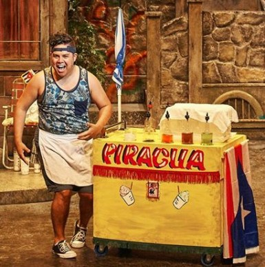 Juan Carlos Unzueta as the Piragua (Puerto Rican shaved ice) Guy. Photo: Chris Bartelski