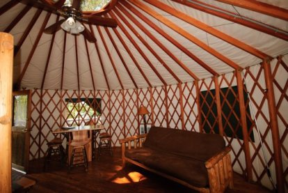 Yurt accommodations in High Falls State Park i between Atlanta and Macon. Sleep well!