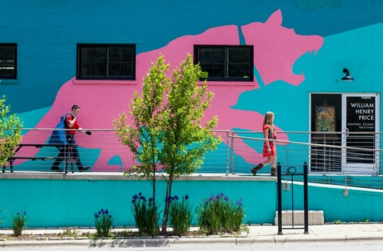 Exterior, Pink Dog Creative. Notice the, umm, big pink dog. Photo: Mary Gabbett