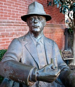 William Faulkner, bronzed. The American writer (1897-1962) is still a giant literary presence in the town he called home. Photo: The William Faulkner Society