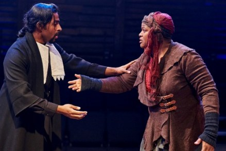 Tamil Periasamy at the Reverend Hale, Vallea E. Woodbury as Tituba. Photo: Christopher Bartelski