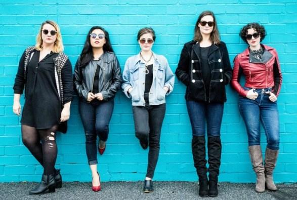 Newly Weird (from left) Julie Skrzypek , Shelli Delgado, Rebekah Sellau, Kate Donadio MacQueen and xxxx. Photo: Casey Gardner