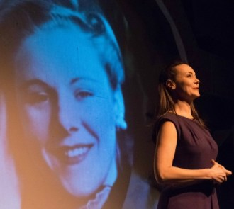 Tara Ochs, with Viola Liuzzo projected behind her. Photo: Jake Scott-Hodes