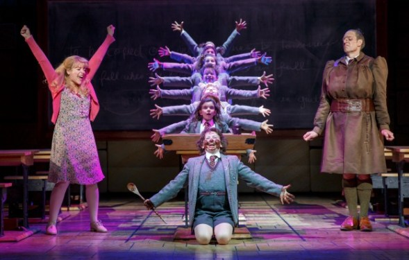 "The ""Matilda"" company, with Dan Chameroy as Miss Trunchbull (right). Photo: Joan Marcus"
