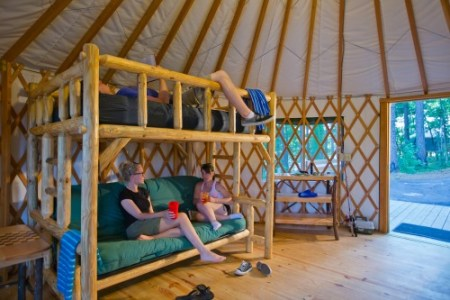 A closer look at the spacious inside of a Tugaloo yurt. Photo: Georgia Department of Natural Resources