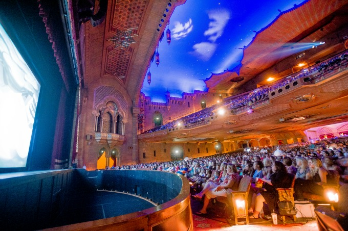 The screen, the sky, the crowd. Welcome to a summertime movie at the Fox Theatre. Photo: Kate Awtrey Photography