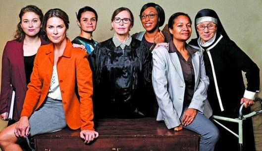The cast (from left): Brooke Owens, Lane Carlock, Maria Rodriquez-Sager, Marianne Fraulo, xxx, xxx, Carolyn Cook. Photo: Greg Mooney