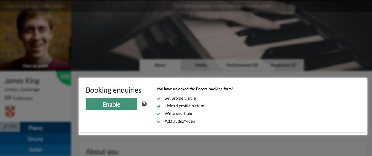 The new booking enquiries section