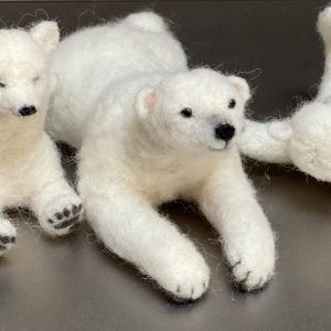 3 miniture felted polar bears.