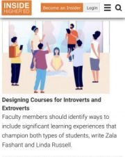 Designing Courses for Introverts and Extraverts article cover page
