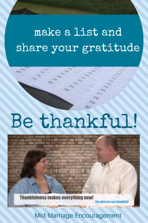 be thankful and share your gratitude - make a list