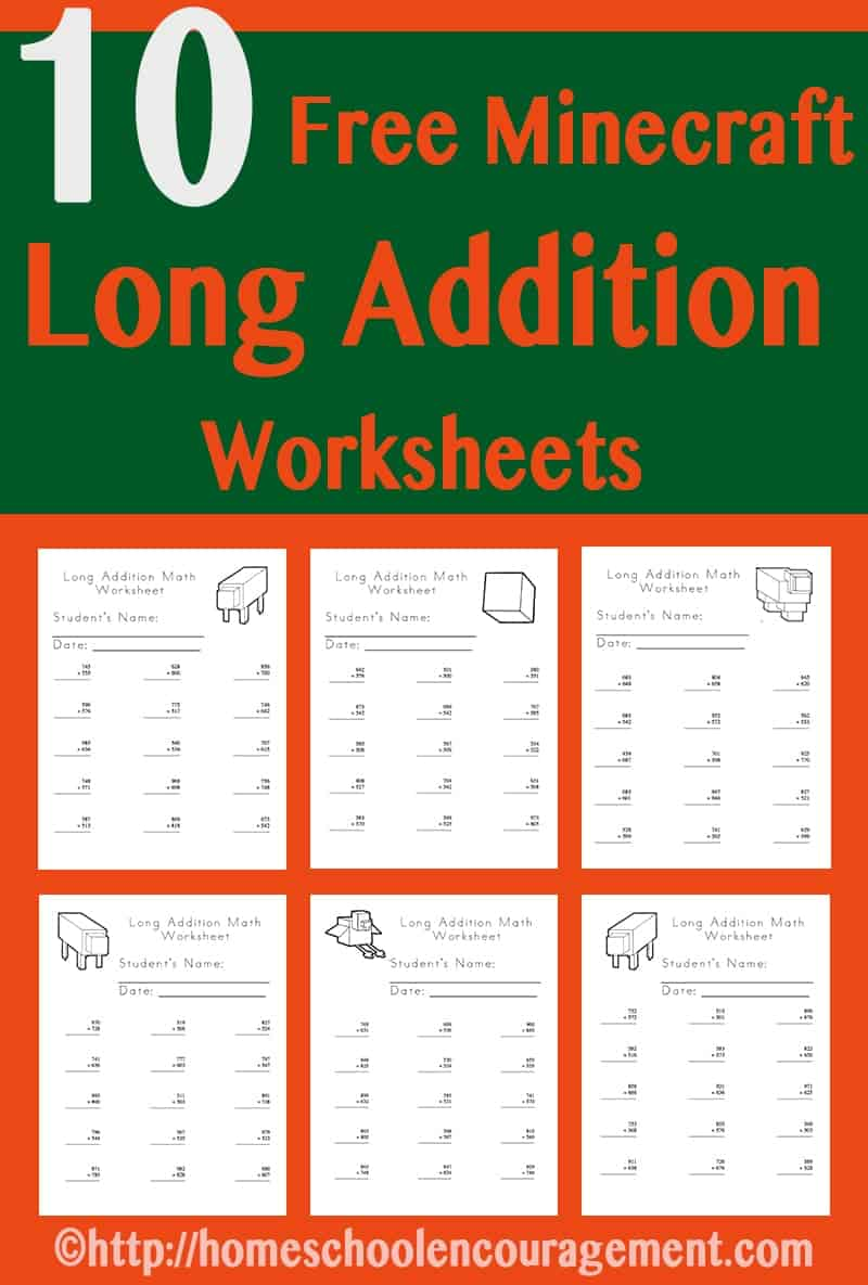 Free Minecraft Worksheets Long Addition