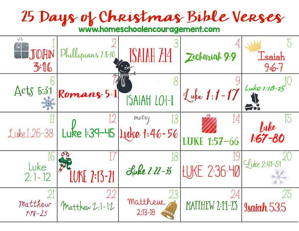 25 Days Of Christmas Bible Verses