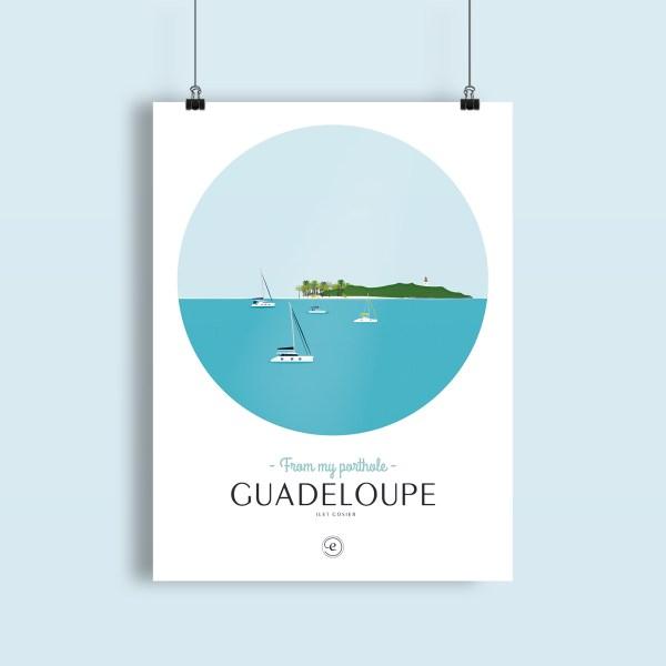 affiche Guadeloupe, collection Antilles françaises, vue sur l'ilet gosier depuis le mouillage
