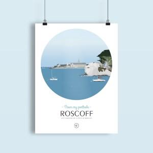 affiche Roscoff vue depuis la mer