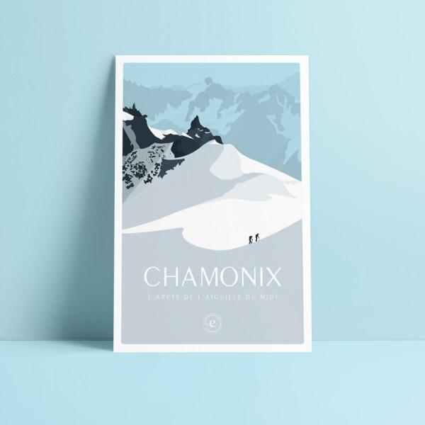 carte postale illustration de chamonix arête du l'aiguille du midi