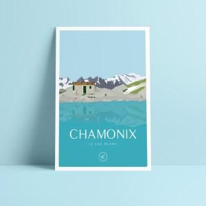 carte postale illustration de chamonix randonnée au lac blanc vue sur le mont blanc