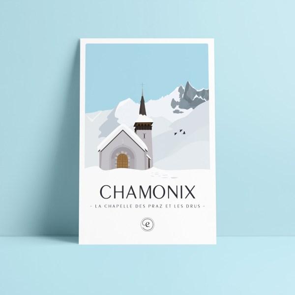 carte postale illustration des drus avec la chapelle des praz de chamonix au premier plan