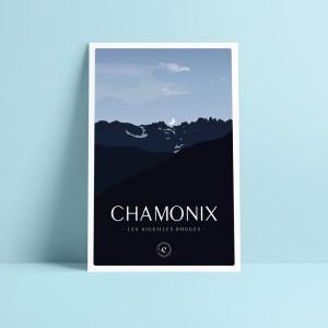 carte postale chamonix illustration de la lune qui se lève sur le massif montagneux des aiguilles rouges