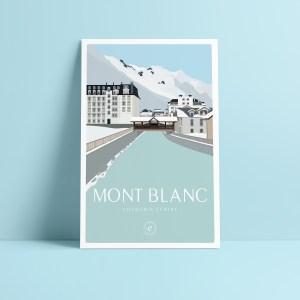carte postale de la vue sur le Mont Blanc depuis le centre ville de Chamonix