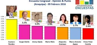 Encuesta Congresal, Opinión & Punto – 09 Febrero 2016 (Arequipa)