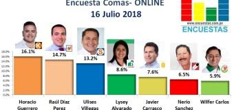 Encuesta Comas, Online – 16 Julio 2018
