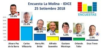 Encuesta La Molina, IDICE – 25 Setiembre de 2018
