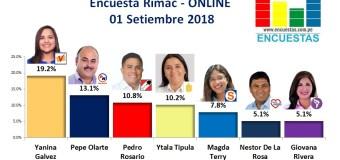 Encuesta Rímac, Online  – 01 Setiembre 2018