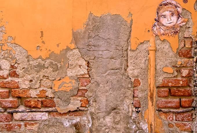 Orange Cracked Brick Wall
