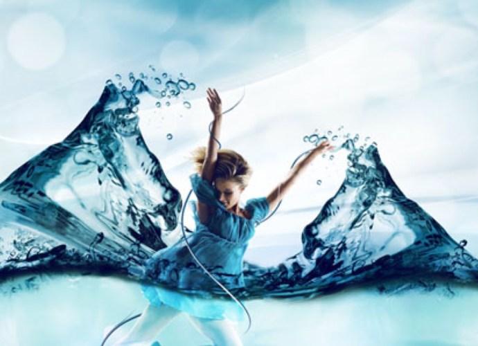 Balance - Woman in blue dress