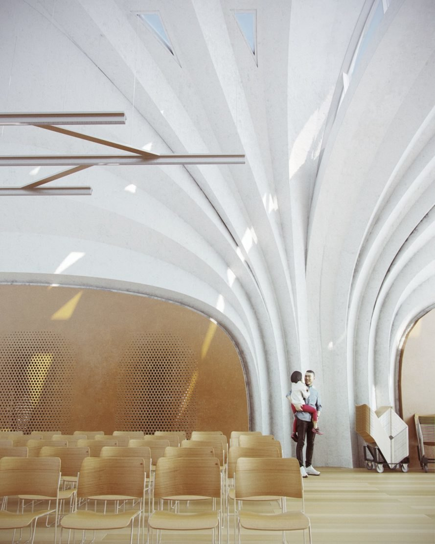 Lushan Primary School, Lushan Primary School Jiangxi, Lushan Primary School by Zaha Hadid Architects, vaulted school architecture, vaulted classroom design, modular vaulted classrooms, modular vaulted school, ceramic finish architecture, industrial robot formwork architecture