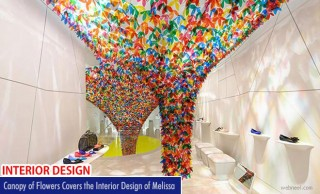 Canopy of flowers covers the interior design of Melissa created by Softlab