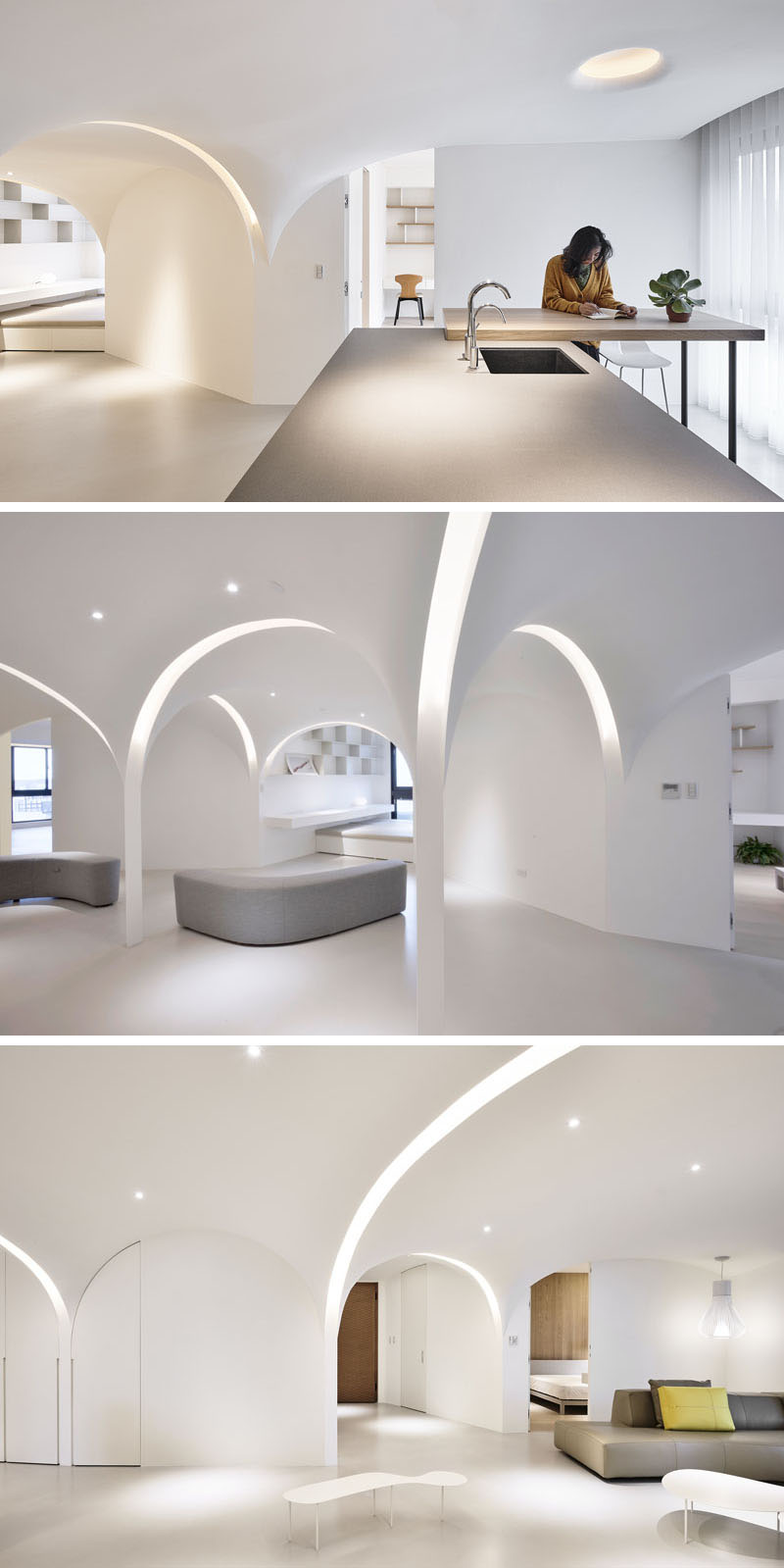 Very Studio   Che Wang Architects have designed the interior of a modern white apartment that features arches that have curved lighting that runs within them. #InteriorDesign #Lighting #Archway