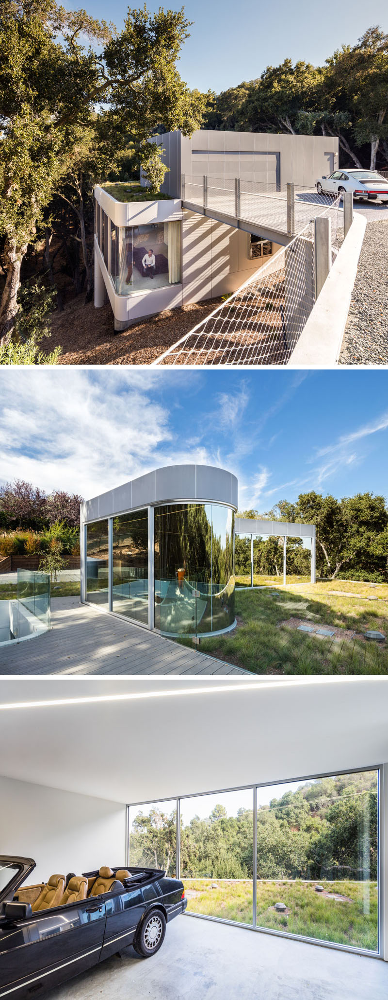 A bridge of steel grating connects the drive to the rooftop of this modern house, that features a rooftop of native grasses, while an observation deck sits in the grass field along with a garage/foyer of zinc panels and mirror glass. #ModernHouse #GreenRoof #Garage