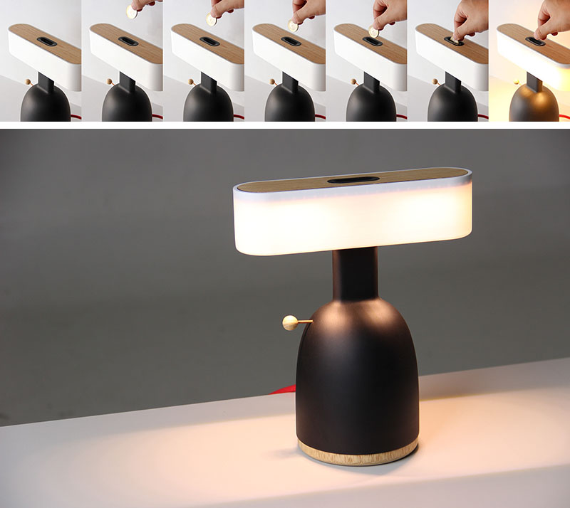This modern light needs a coin inserted into it, to allow it to turn on. #Design #Lighting