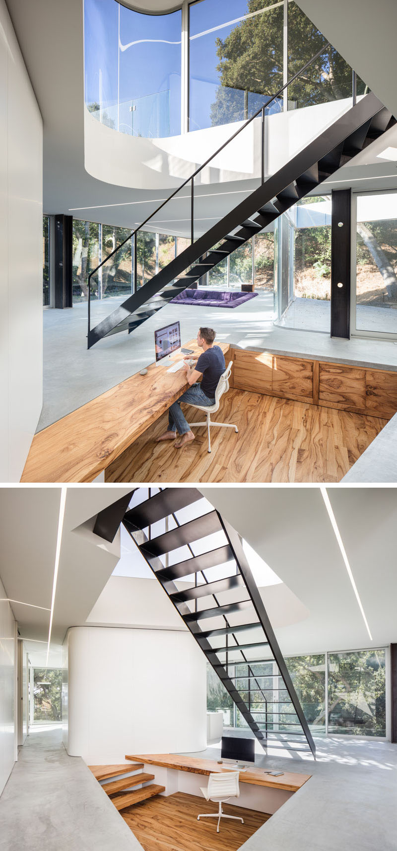 Under the stairs in this modern house,there's a sunken office that has all surfaces, including the flooring, desk and cabinetry, that have been milled from a single slab of Chinese pistachio.#SunkenOffice #HomeOffice