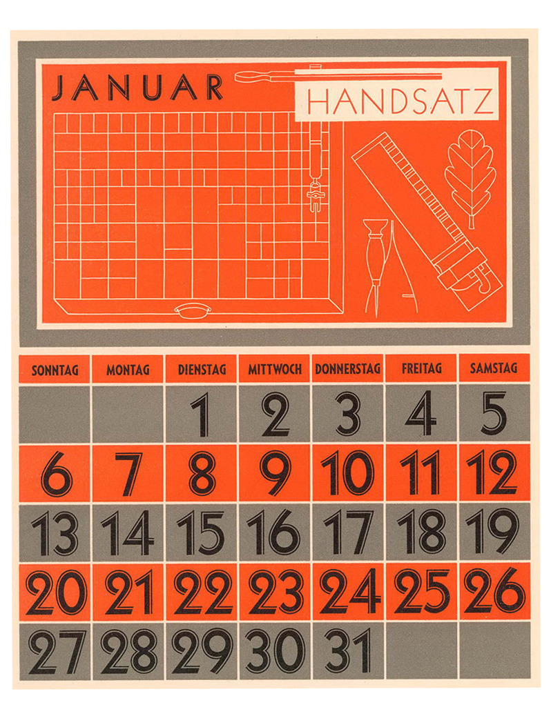 Rudolf Koch, calendar page with typeface: Zeppelin, designed 1929. Klingspor Museum Offenbach, estate Rudolf Koch / Ingeborg Heinrichsen. Source