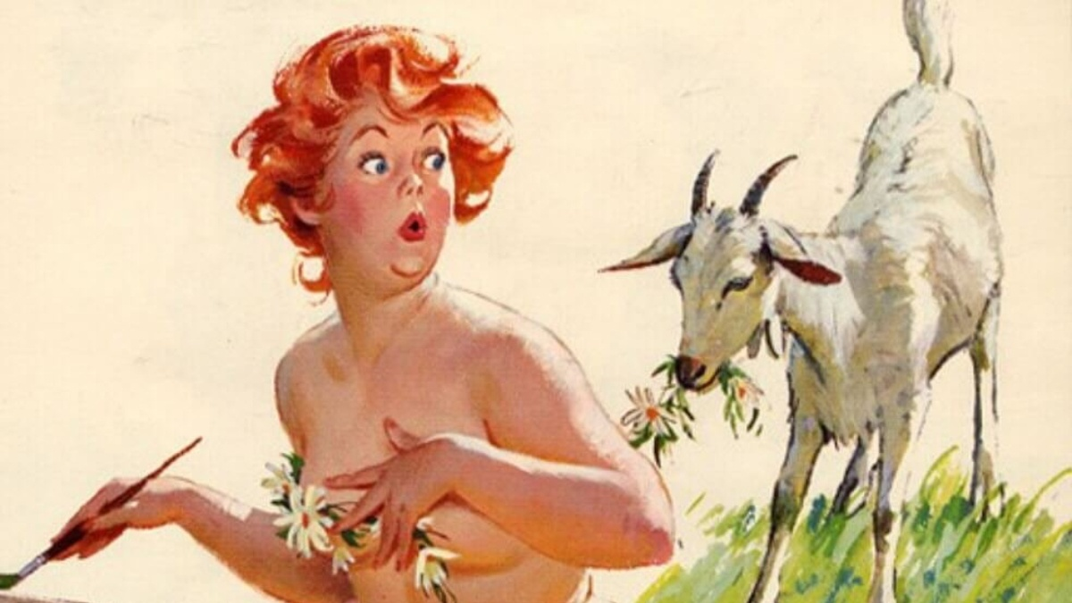 Hilda surprised by a goat behind her by Duane Bryers