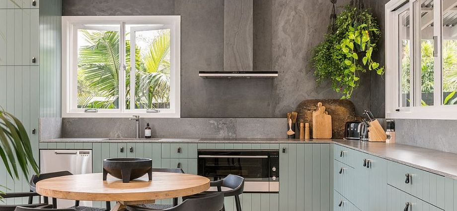Beach style kitchen combines colour with class.