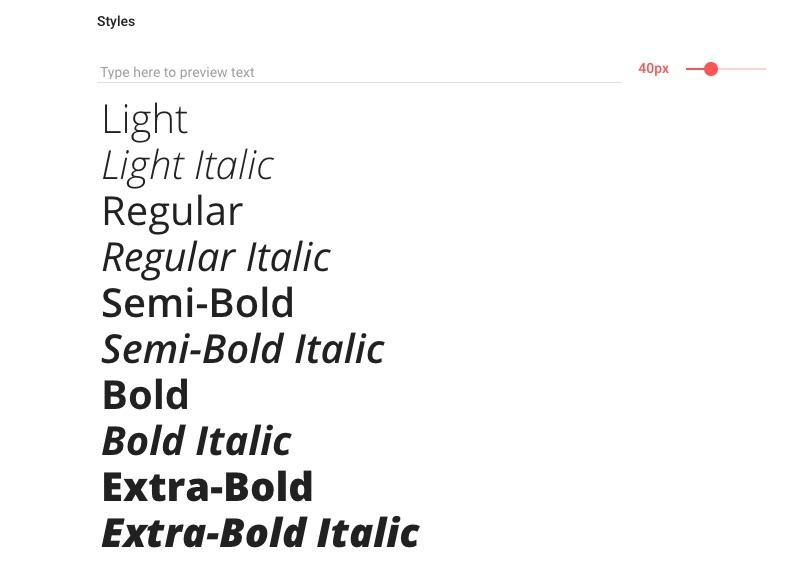 Open Sans style options