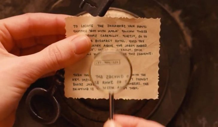 A secret note being read with a tiny magnifying glass