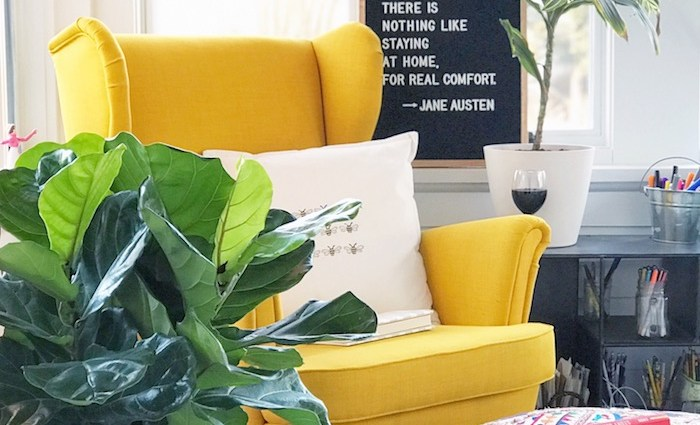 Reading nook with a yellow chair