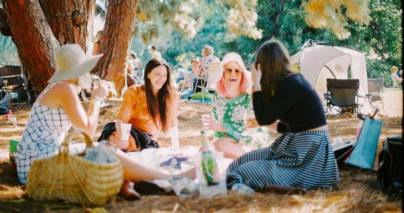 Four woman having a picnic