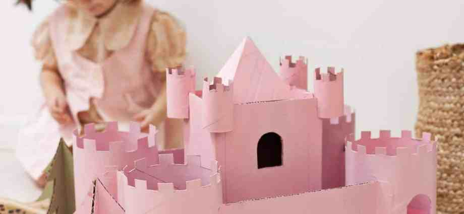 Pink Toy Castle made from Upcycled cardboard